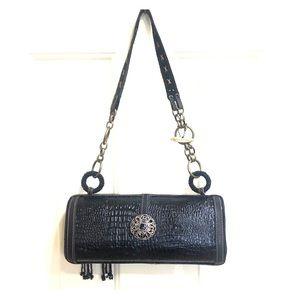 Mary Frances Black Leather Art Opera Bag
